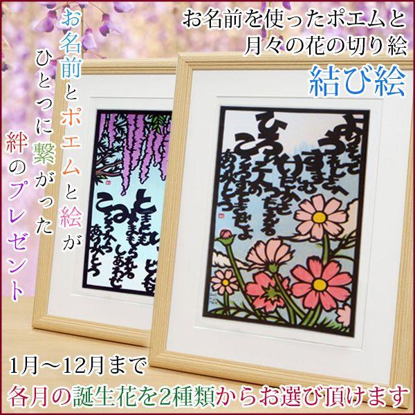 季節の花の切り絵とネームインポエムの喜寿祝い
