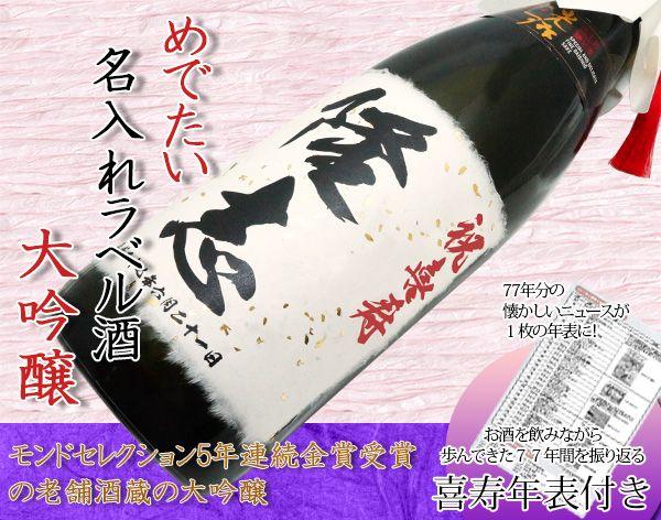 男性(父)の喜寿祝いにお名前入りラベルの大吟醸酒をプレゼント</h2>