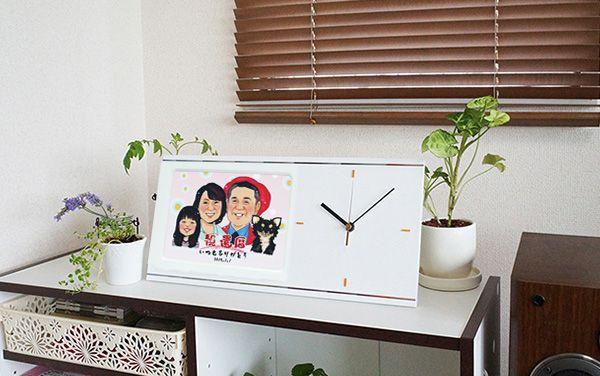 喜寿祝いに似顔絵入りの時計