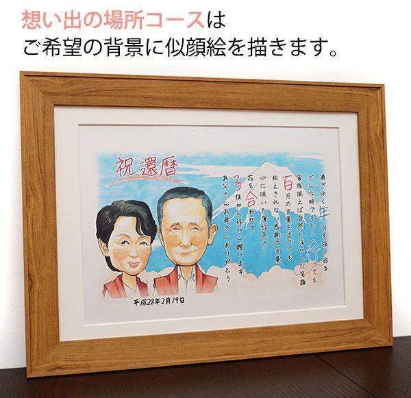77歳喜寿祝いに背景入り似顔絵とネームインポエムの贈り物